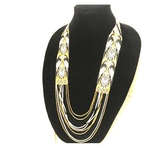 Colombian, native, beaded long necklace gold